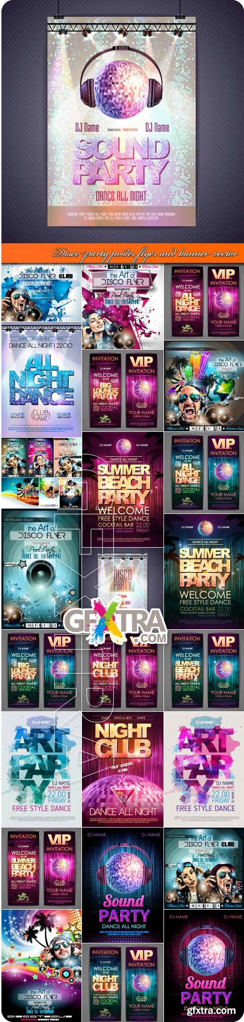Disco dance party poster flyer and banner vector