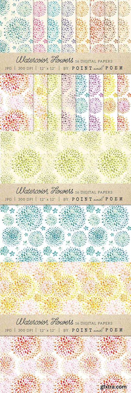 Watercolor Flowers Digital Paper - CM 179125