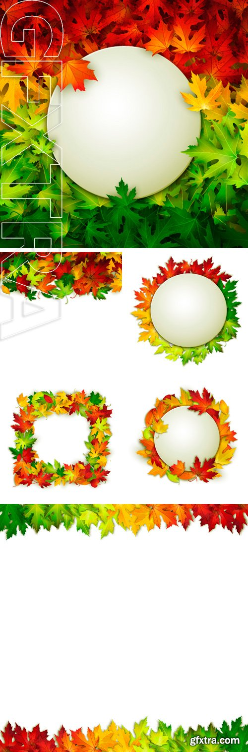 Stock Vectors - Freme for your design on colorful autumn leaves background, vector illustration