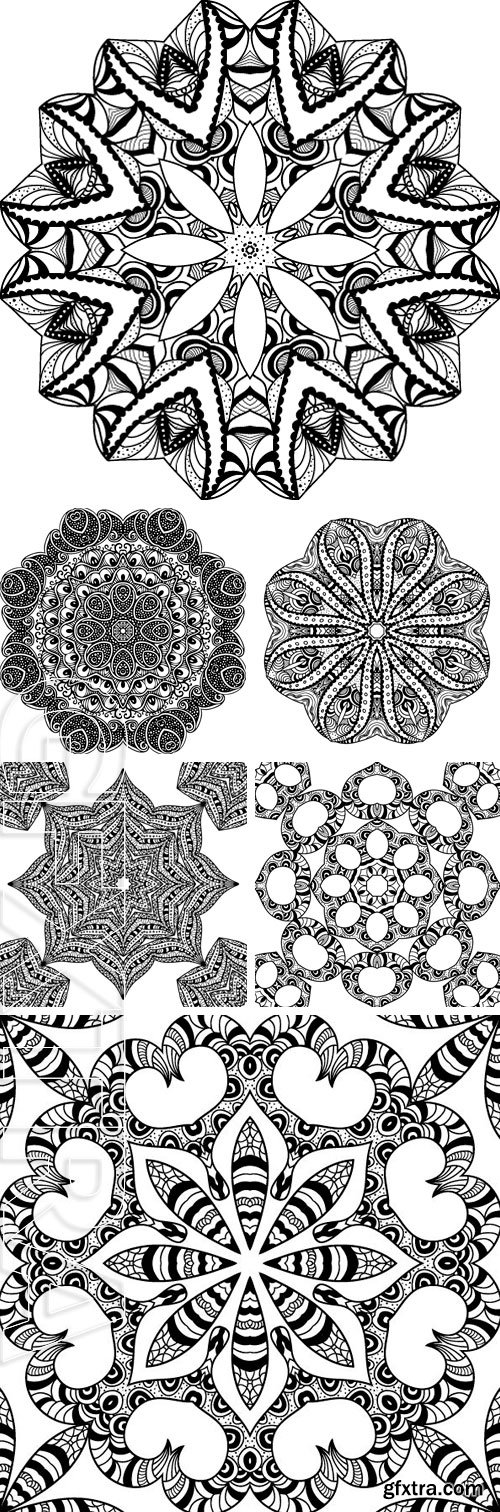 Stock Vectors - Black and white card with mandala ornament. Geometric element. Perfect for birthday and other holiday, any other kind of design, kaleidoscope, medallion, arabic design