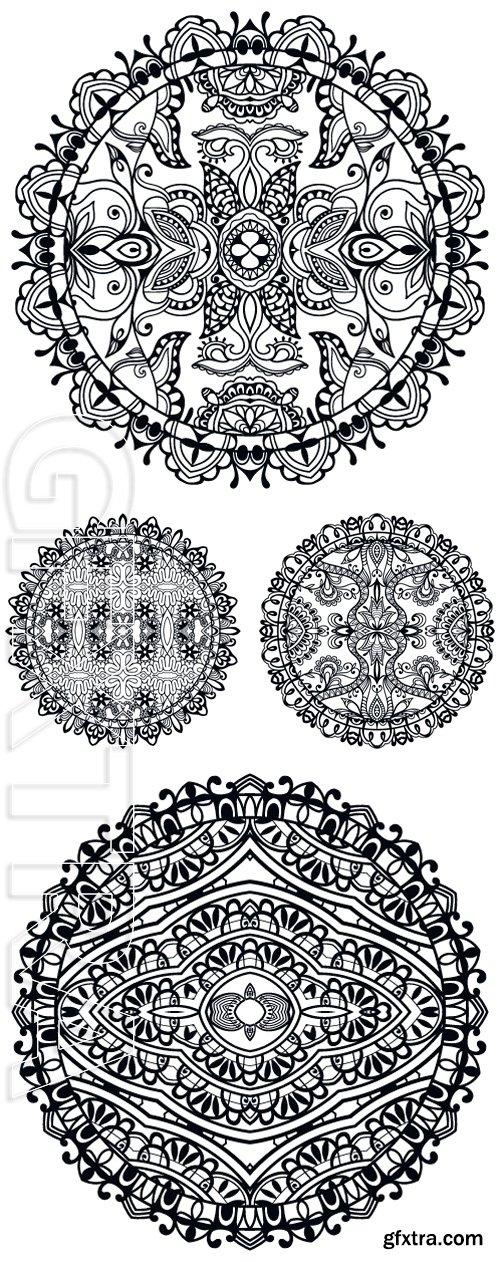 Stock Vectors - Black and white Mandala round ornament tribal ethnic pattern, islamic arabic indian motif. Vector illustration, hand drawn sketch background