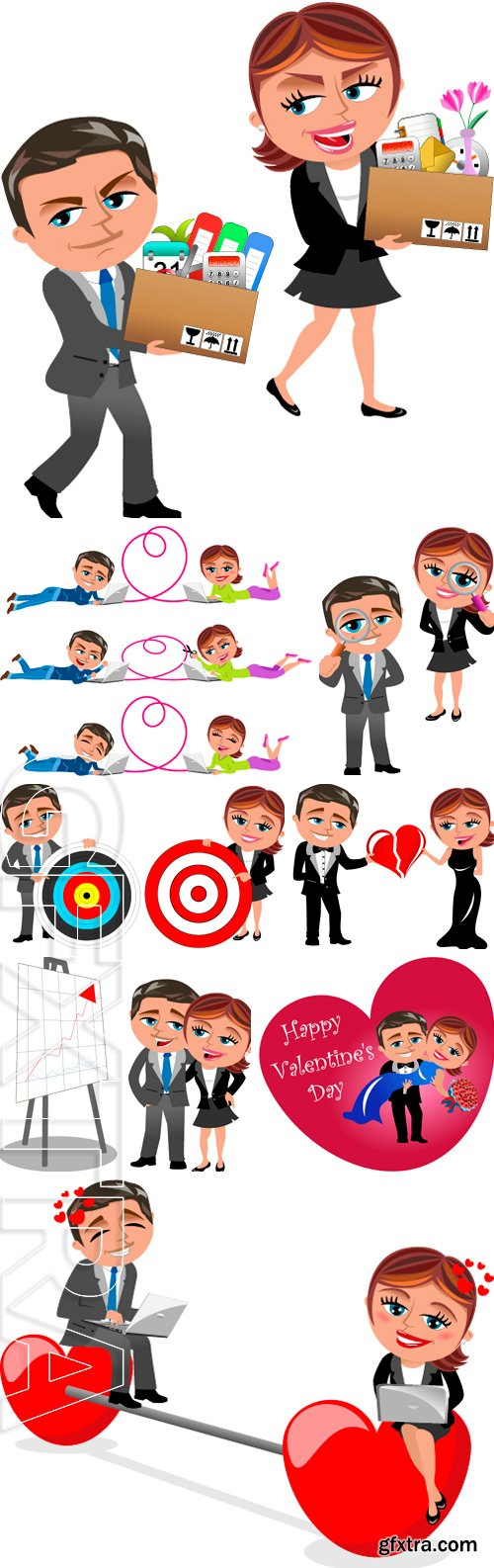 Stock Vectors - Businesswoman and businessman holding target isolated