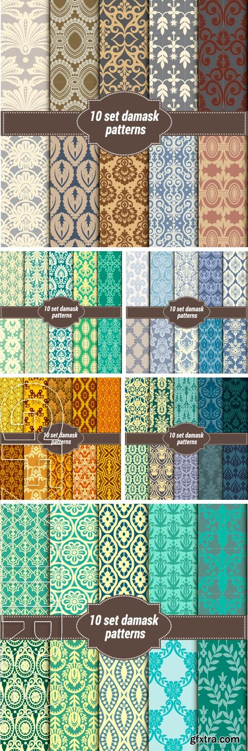 Stock Vectors - Collection of floral patterns for making damask wallpapers, vintage styles, pattern swatches