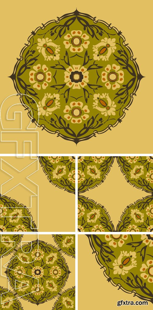 Stock Vectors - Colorful round floral border corner abstract background vector