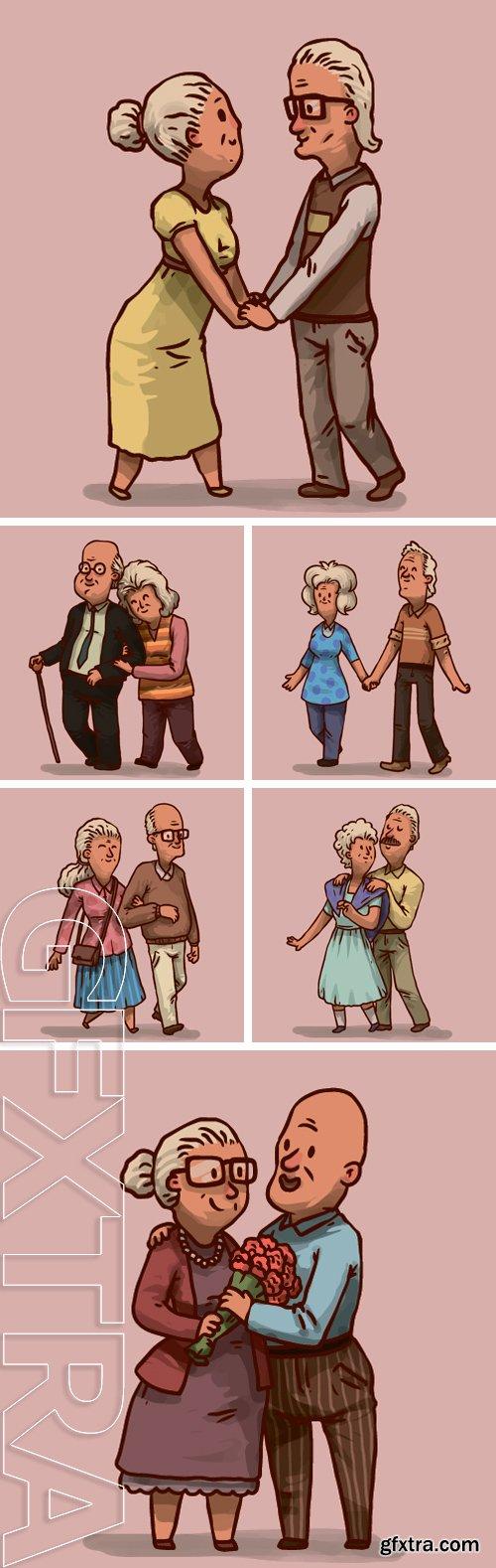 Stock Vectors - Happy old couple, vector