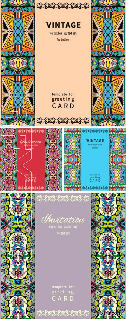 Stock Vectors - Invitation card design in vintage style with tribal ethnic ornamental borders and place for the text