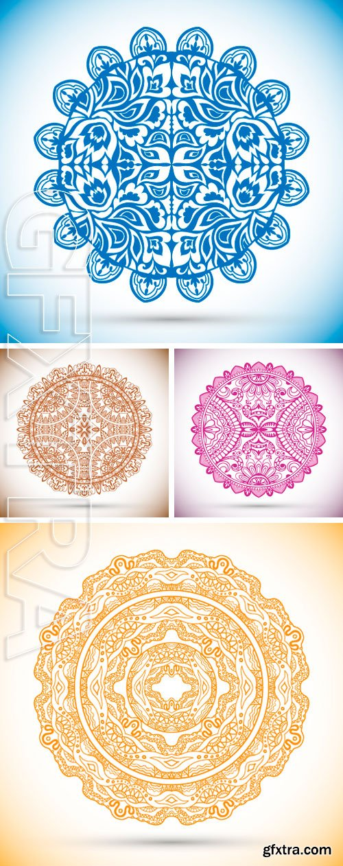 Stock Vectors - Islamic arabic indian pattern, decorative lace doily, element for design, t-shirt print. Hand drawn sketch background