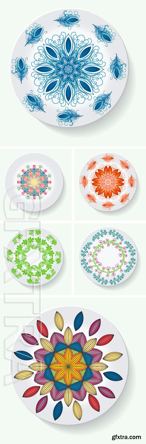 Stock Vectors - Plate with elegance tribal ornament mandala. Vector illustration