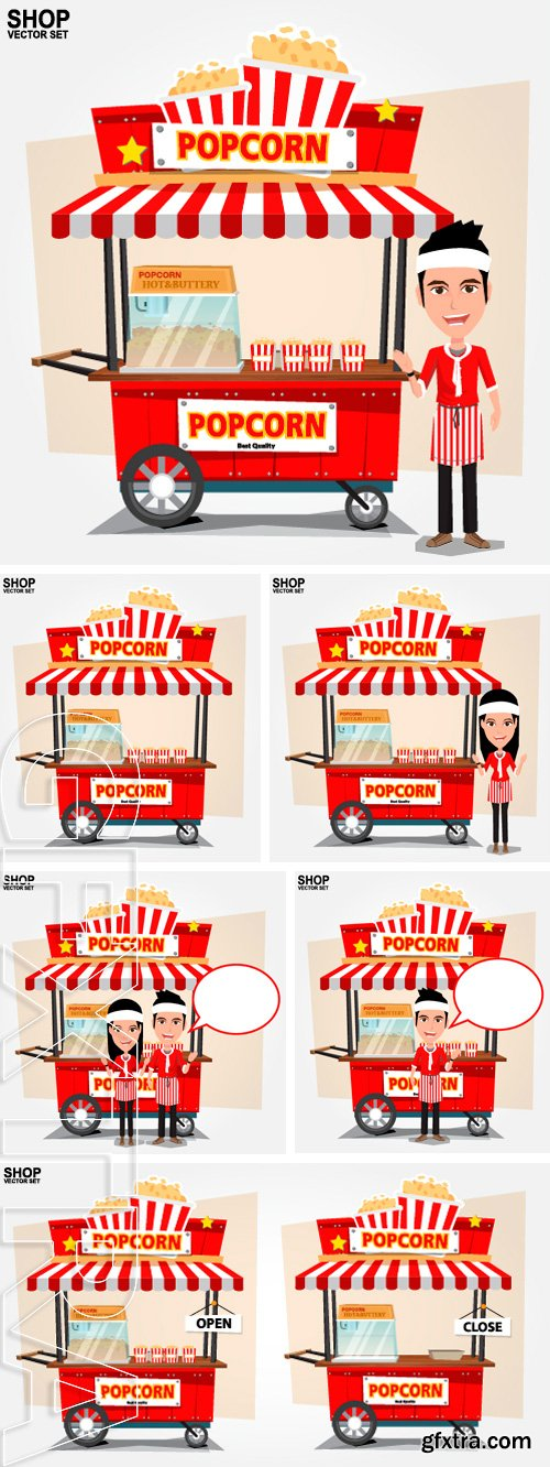 Stock Vectors - Popcorn cart with seller - vector illustration