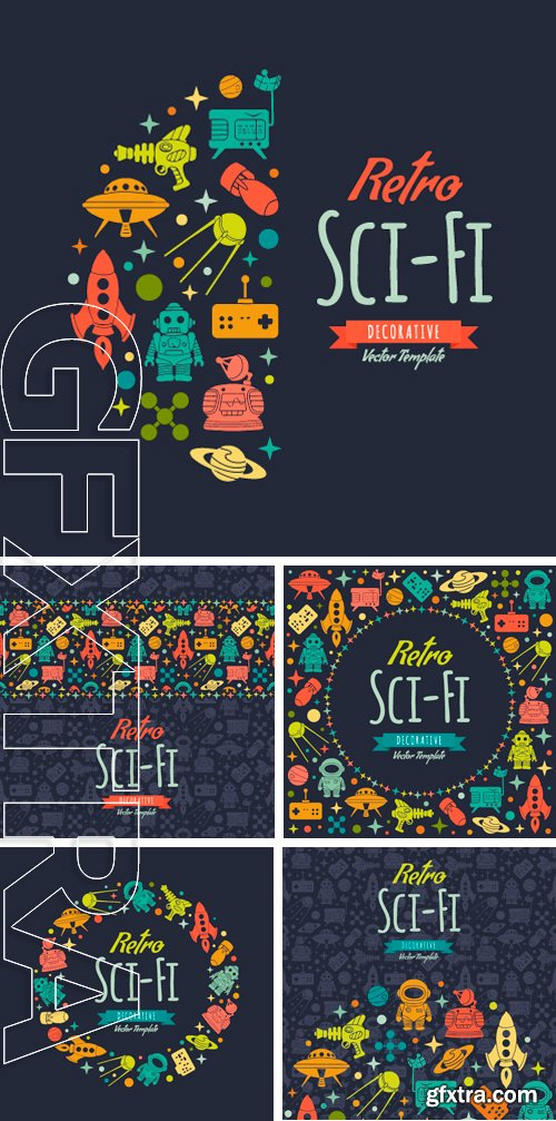 Stock Vectors - Retro Sci-Fi vector decorating design. Colorful card template with copy space