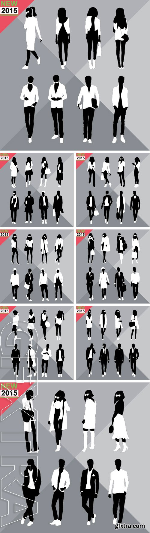Stock Vectors - Set of men and women black silhouettes, editable
