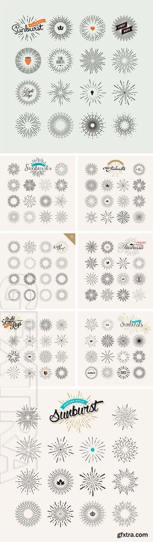Stock Vectors - Set of vintage style elements for graphic and web design. Light rays handmade vector elements
