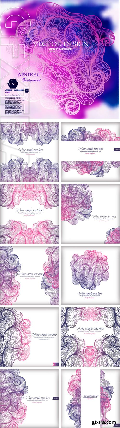 Stock Vectors - Vector abstract hand-drawn waves background with place for your text