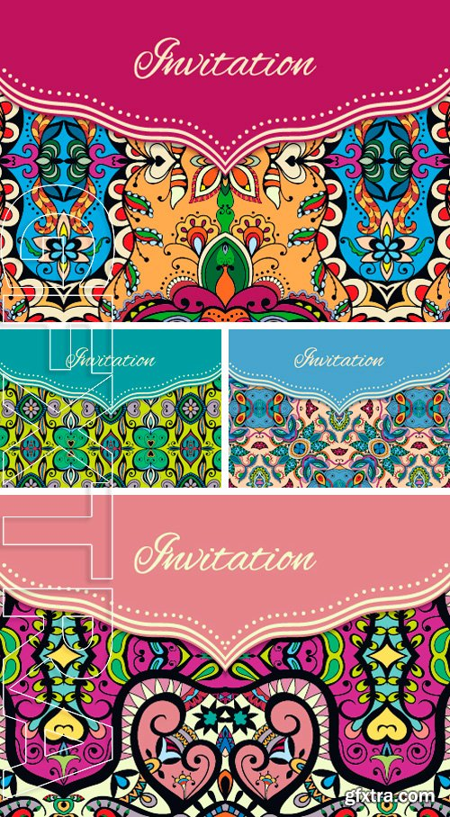 Stock Vectors - Vector floral and geometric background, islamic arabic indian motif