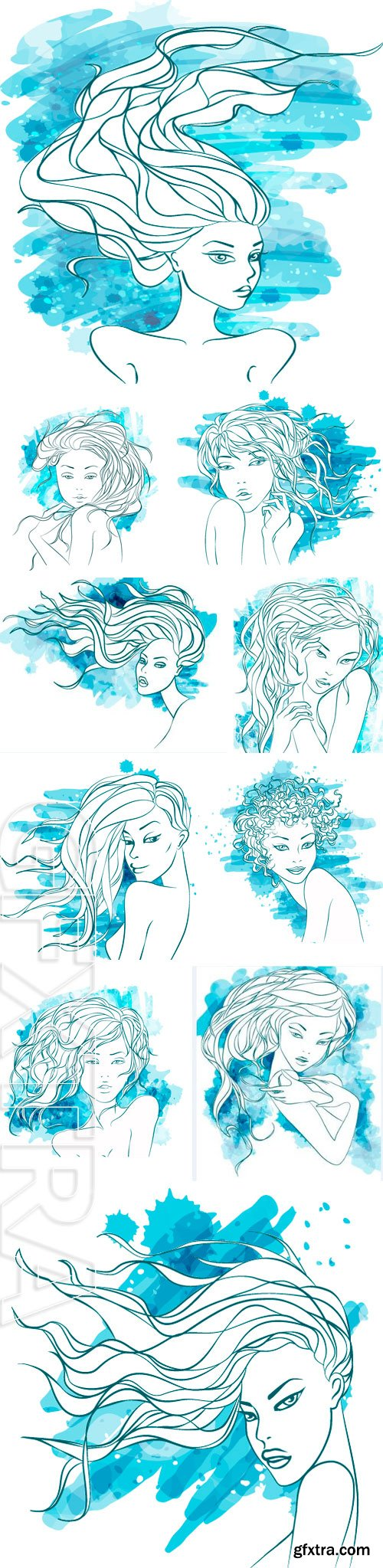 Stock Vectors - Watercolor Woman. Vector Illustration. Stylish Design. Girl Silhouette. Cosmetics. Beauty. Health and spa. Fashion themes