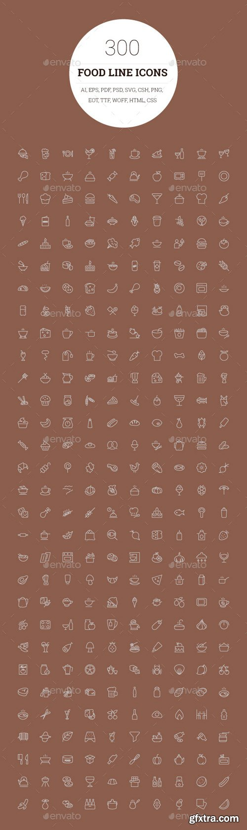CM 114562 - 300 Food Line Icons