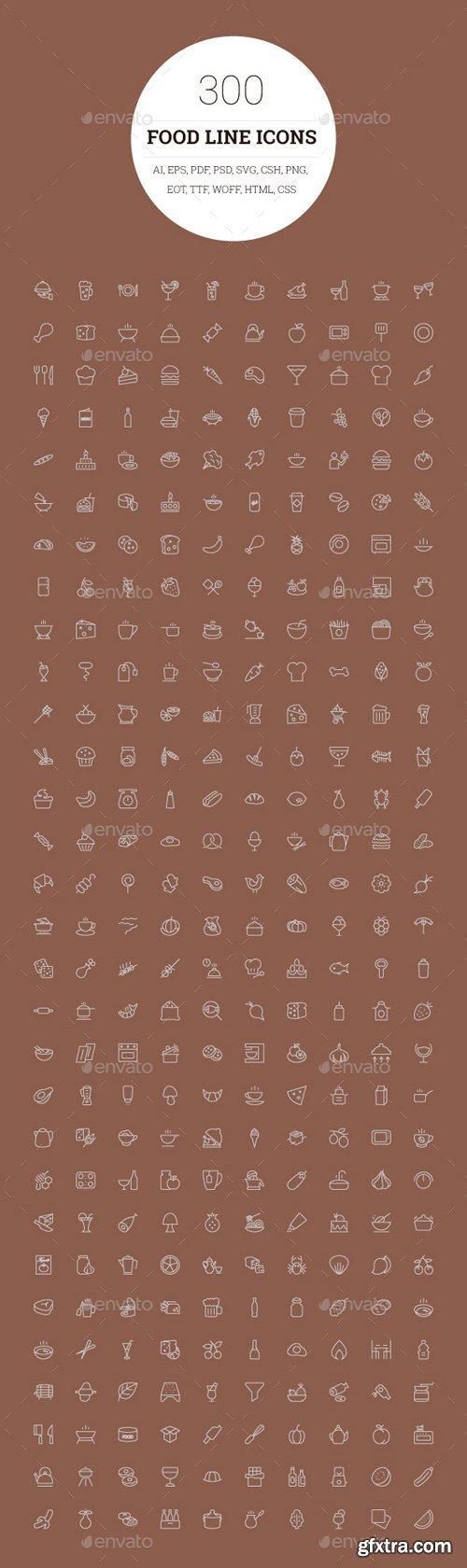 CM 114562 - 300 Food Line Icons