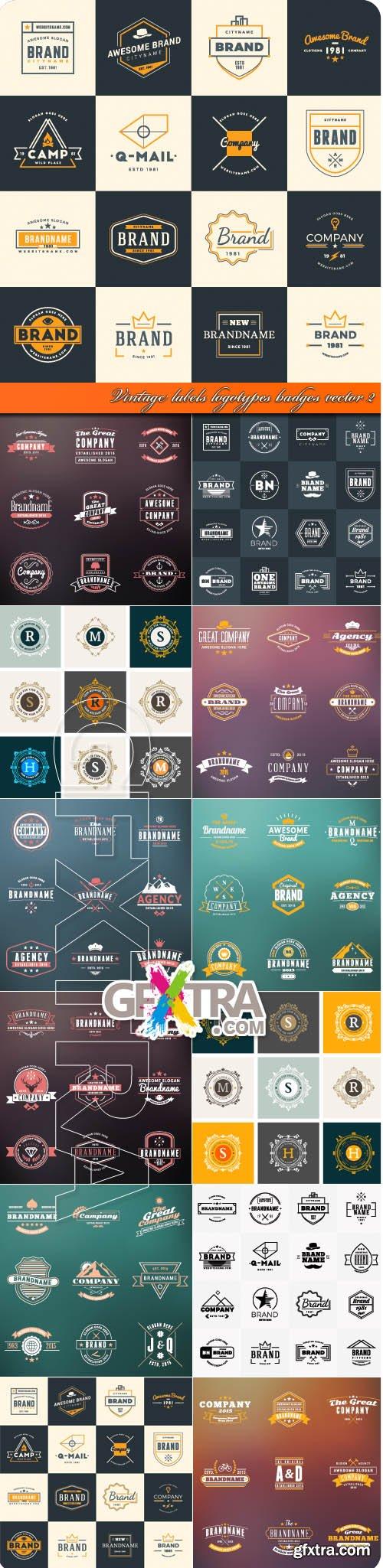 Vintage labels logotypes badges vector 2