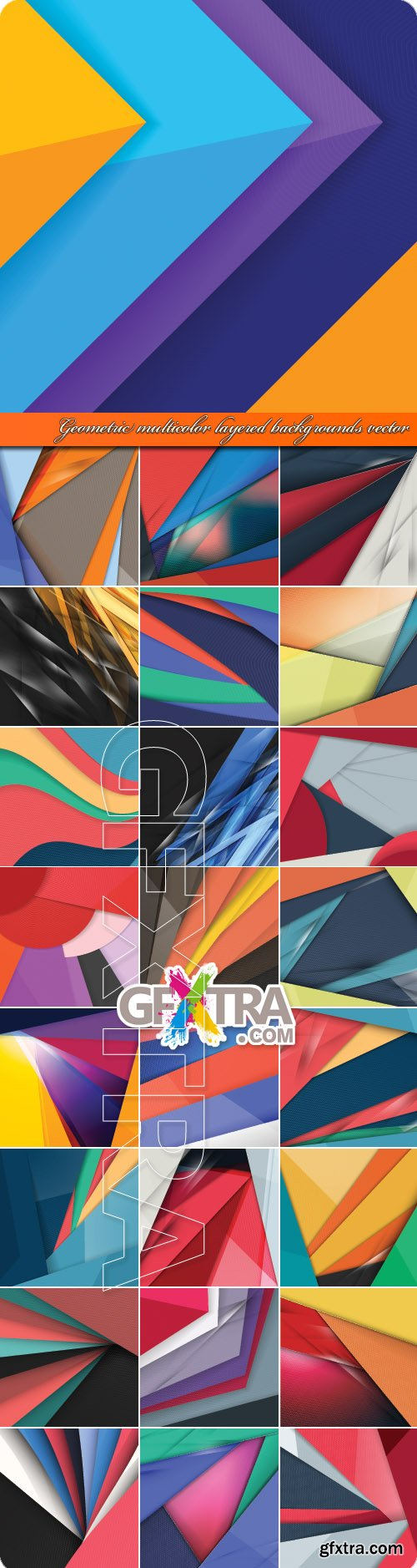 Geometric multicolor layered backgrounds vector