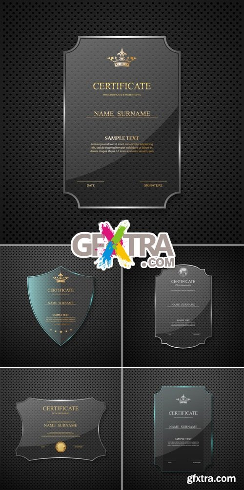 Certificate Templates on Glass Frame Vector