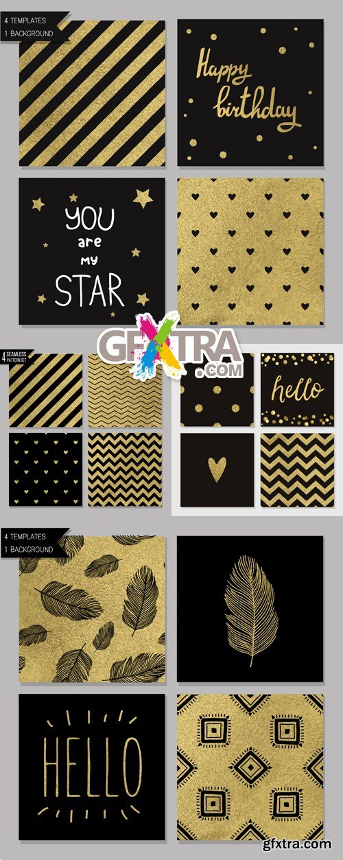 Black & Golden Seamless Patterns Vector