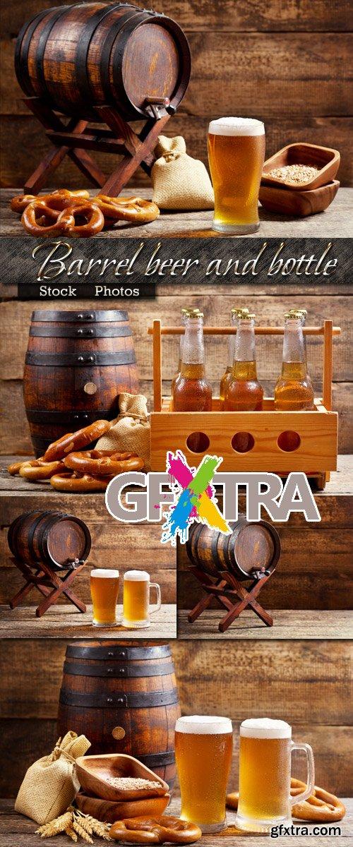 Barrel for beer and a bottle