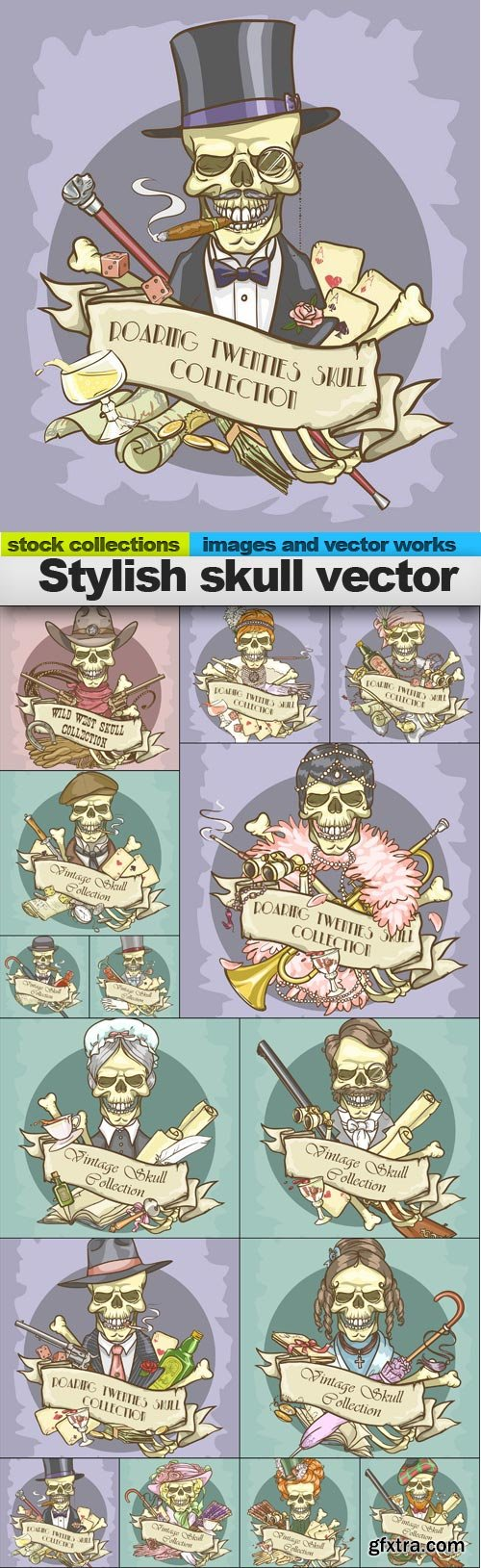 Stylish skull vector, 15 x EPS
