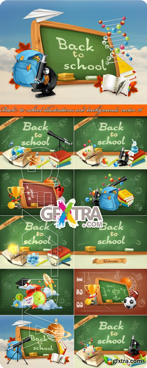 Back to school illustrations and backgrounds vector 16