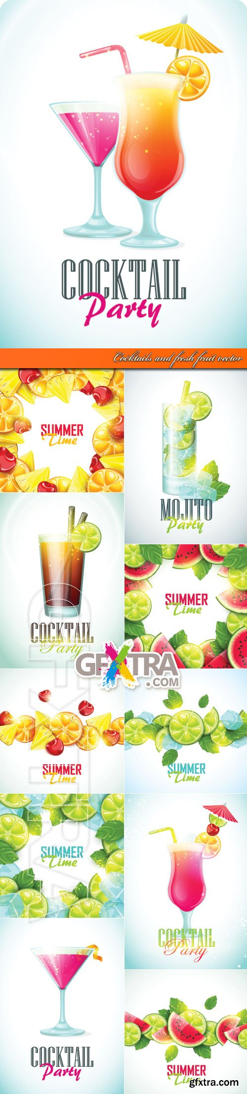 Cocktails and fresh fruit vector