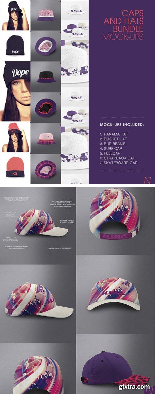 CM 223975 - CAPS & HATS MOCK-UPs BUNDLE | 7 in 1