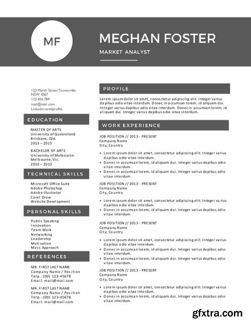 CM - Black white Word resume bundle 334123