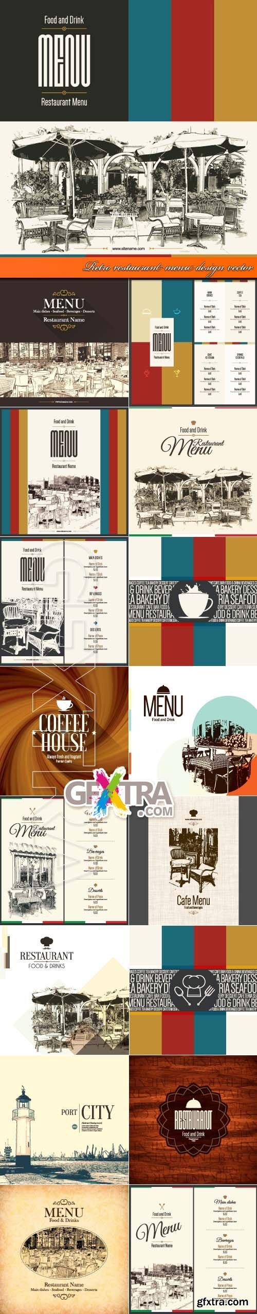 Retro restaurant menu design vector