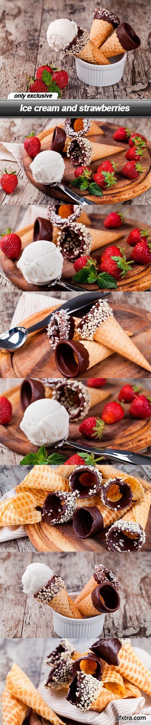 Ice cream and strawberries - 8 UHQ JPEG