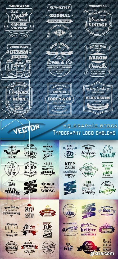 Stock Vector - Typography logo emblems