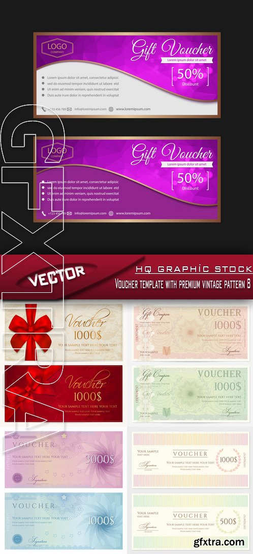 Stock Vector - Voucher template with premium vintage pattern 8