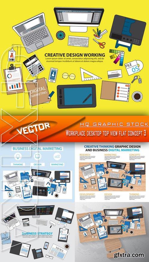 Stock Vector - Workplace desktop top view flat concept 3