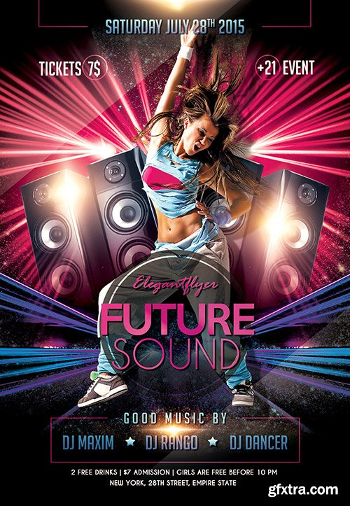 FUTURE SOUND Flyer PSD Template + Facebook Cover