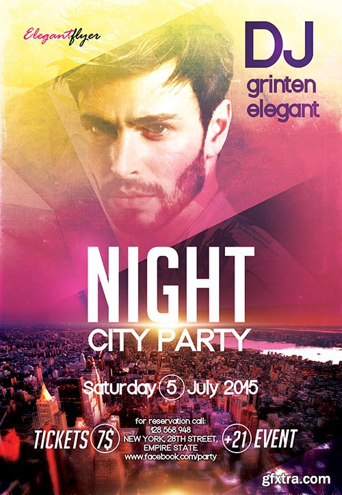 Night City party Flyer PSD Template + Facebook Cover