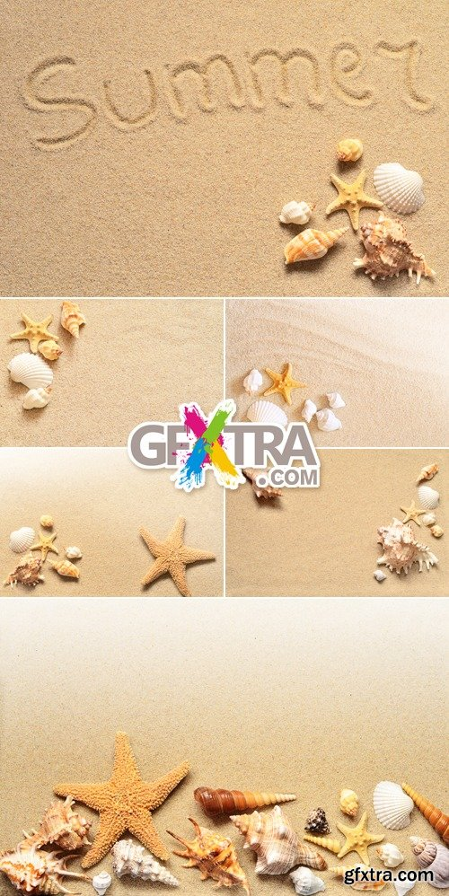 Stock Photo - Sand & Seashells Backgrounds 3