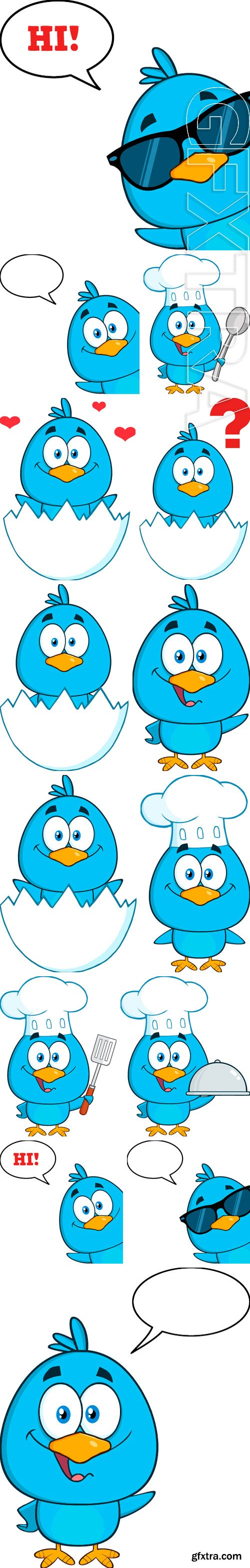 Stock Vectors - Cute Blue Bird Cartoon Character. Vector Illustration Isolated On White