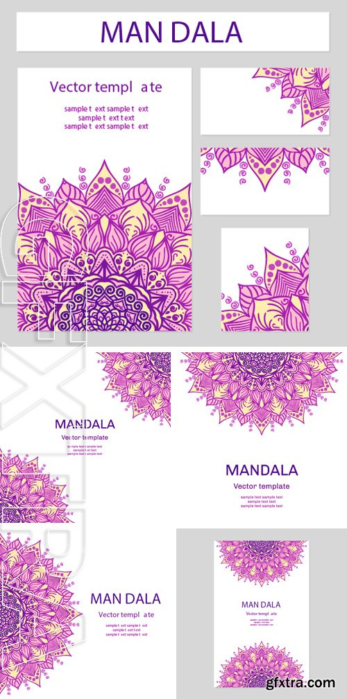 Stock Vectors - East lace motif for the design of invitations, business cards and web. Vector illustration