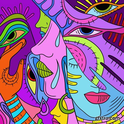Abstract multicolored image, 15 x UHQ JPEG