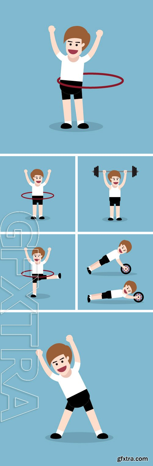 Stock Vectors - Fitness man, fitness exercise concept, vector illustration
