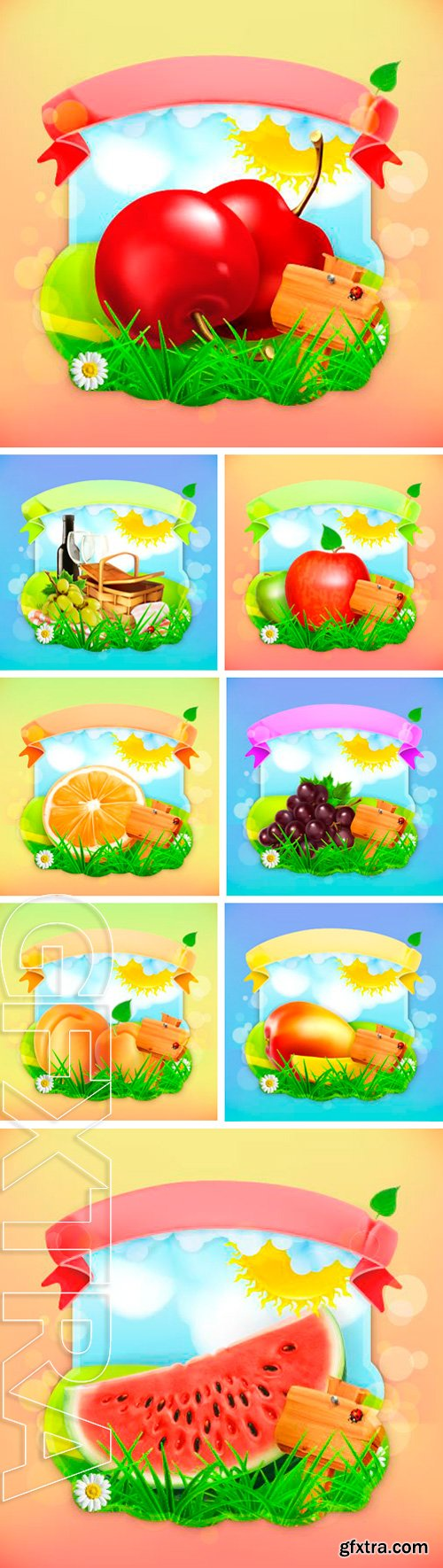 Stock Vectors - Fresh fruit label, vector illustration background for making design of a juice pack, jam jar etc