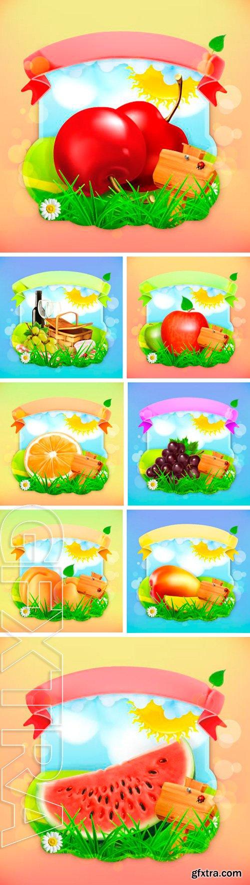 Stock Vectors - Fresh fruit label, vector illustration background for making design of a juice pack, jam jar etc