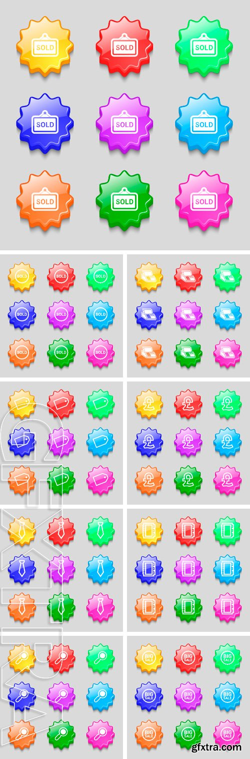 Stock Vectors - Icon. symbol on nine wavy colourful buttons. Vector illustration