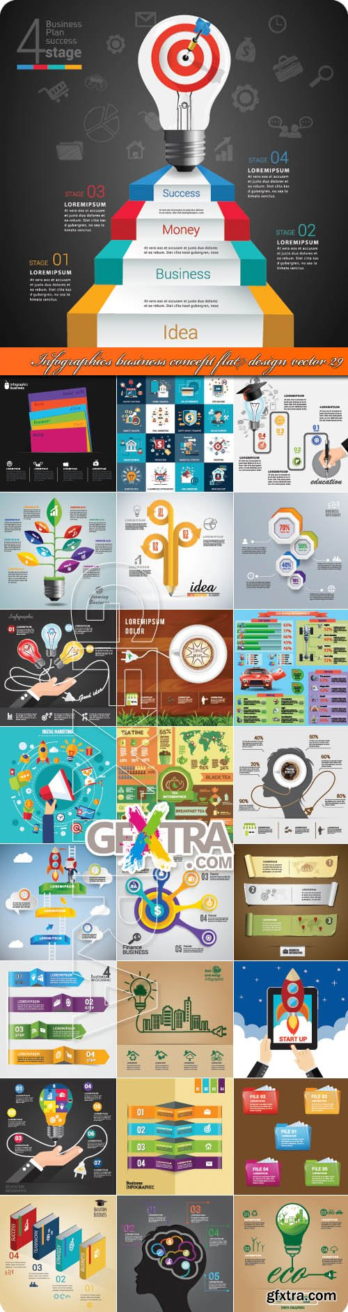 Infographics business concept flat design vector 29