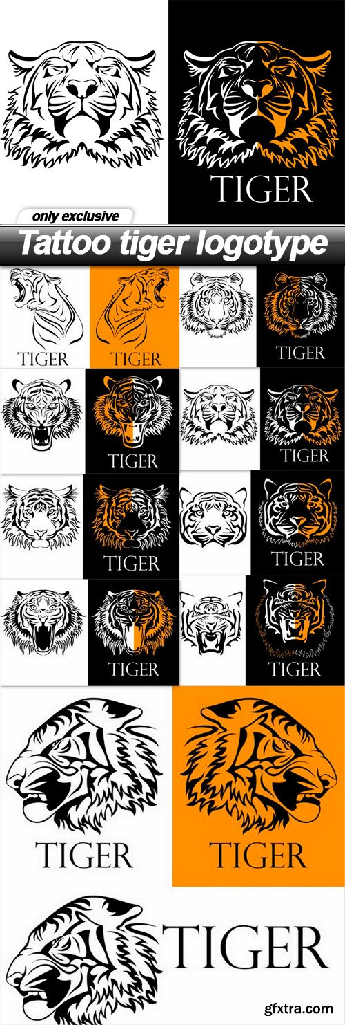 Tattoo tiger logotype - 9 EPS
