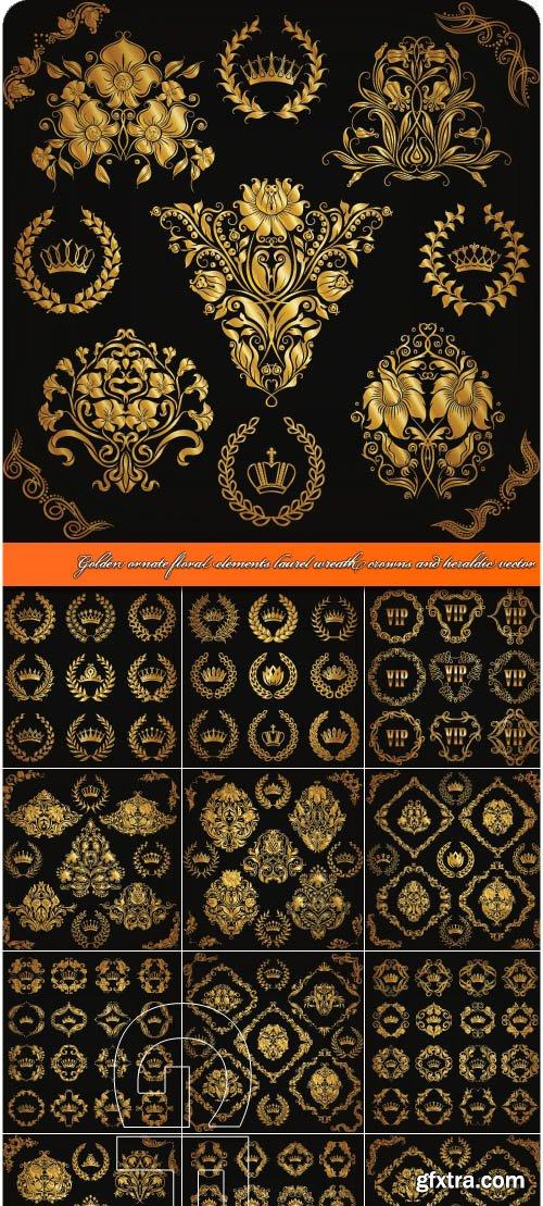 Golden ornate floral elements laurel wreath crowns and heraldic vector