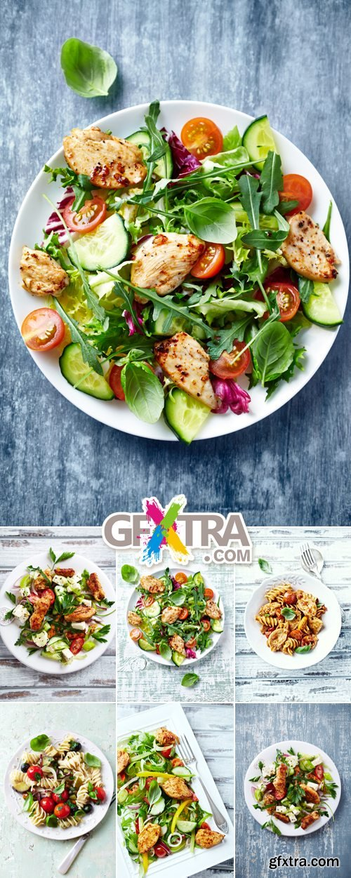 Stock Photo - Salad on Wooden Background